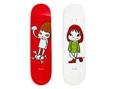 Embellished with the Japanese artist's sweet, scrappy girls, these decks stand out from the rest. Japanese Art Modern, Japanese Artists, Yoshitomo Nara, Cool Skateboards, Skateboard Art, Cool Stuff, How To Make, Moma Design, Decks