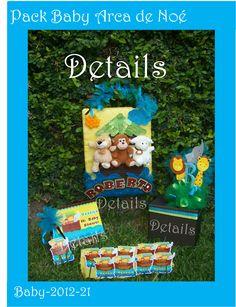 DETAILS SOUVENIRS FACEBOOK Pack para Baby shower temático arca de Noé banner Caja de sobres Album de firmas invitaciones