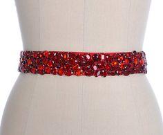Vintage Style Red Rhinestone Crystals Ribbon Red Bridal Belt, Red Crystal Wedding Dresses Sash, Wine Red Crystal Belt