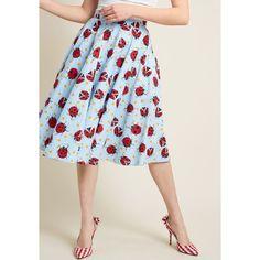 Hell Bunny Ladybug Love A-Line Skirt (£49) ❤ liked on Polyvore featuring skirts, petal skirts, petite skirts, daisy print skirt, hell bunny skirt and checked skirt