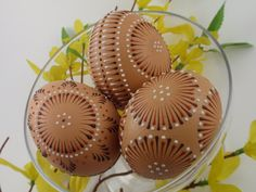 Easter Eggs Pysanky, Set of 3 Decorated Brown Chicken Eggs.