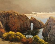 The Arches, Pt. Lobos Brian Blood, olje, 24 x 30 Palm Desert California, California Art, Seascape Paintings, Landscape Paintings, Landscapes, Carmel Beach, Winter Sunset, Outdoor Landscaping, Impressionist
