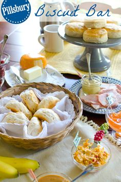 Ideas For Southern Bridal Shower Ideas Biscuit Bar Biscuit Bar, Breakfast Biscuits, Brunch Bar, Brunch Buffet, Flaky Biscuits, Christmas Brunch, Breakfast Time, Appetizers For Party, Brunch Recipes