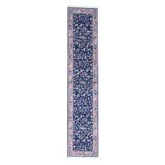 "1800getarug Sino Kashan Botanical Design Handmade Runner Rug (2'6x12'2) (Exact Size: 2'6"" x 12'2""), Blue, Size 3' x 12' (Wool, Oriental)"