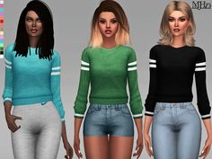 -A cool and chic baggy sweater with athletic feel. Perfect for all your sims casual and sporty wear! Found in TSR Category 'Sims 4 Female Everyday'