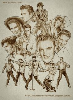 """Elvis presley, illustration from the book """"Hombres de Hollywood"""".Nacho Castro.Diábolo ediciones"""