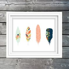 WOODLAND FEATHERS printable, nursery print, nursery wall art, coral & navy poster, coral & navy wall art, instant download, kids art, childrens