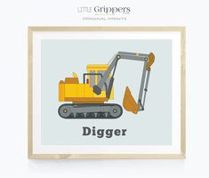 Digger print, Toddler boys room decor, Kids truck wall art, Excavator printable, Construction party printable, Transportation art Toddler Boy Room Decor, Nursery Decor Boy, Star Nursery, Toddler Rooms, Boys Room Decor, Nursery Neutral, Nursery Prints, Nursery Wall Art, Car Wall Art