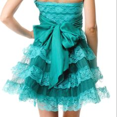 Betsey Johnson Dress.  Teal, lace, ruffles, bows... What do you have to lose?
