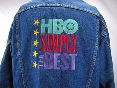 HBO SIMPLY THE BEST Blue 100% Cotton Denim Vintage Trucker Jean Jacket Mens XL #HBOSIMPLYTHEBEST #JeanJacket