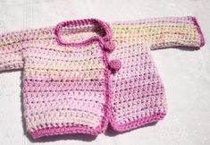 Crocheted In One Piece Baby Sweater ~ free pattern