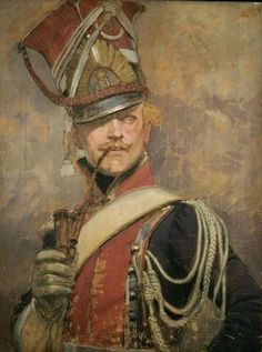 Officier du 1er chevau-légers polonais de la Garde impériale by Édouard Detaille (French, 1848-1912) He'd certainly stand out in a crowd - wow! What a weight all that must have been, and how stiflingly hot to wear - however, he looks entirely nonchalant.