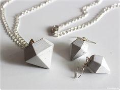 Beton Diamant Kette Ohrring modage.de 1