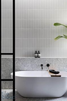 Laundry In Bathroom, Bathroom Inspo, Bathroom Renos, Bathroom Renovations, Bathroom Inspiration, Modern Bathroom, Grey Bathroom Tiles, White Bathroom, Terrazzo Flooring