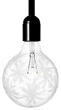 Need something special for a small space? Add this amazing etched lightbulb. The designs add depth and shadows to the light it casts — and its available in stripes, squiggles or this charming floral pattern.