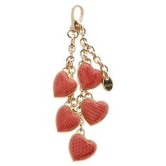 Pre-Owned TOD's Gold-Tone Red Lizard Heart Charm Key Holder/Bag Charm ($70) ❤ liked on Polyvore featuring accessories, fillers, heart key chain, heart shaped key chains and long key chains