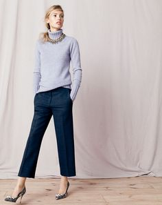 J.Crew women's Collection Italian cashmere chunky turtleneck sweater, patio pant, feather collar necklace and Elsie jeweled fabric d'Orsay pumps. To pre-order, call 800 261 7422 or email verypersonalstylist@jcrew.com.