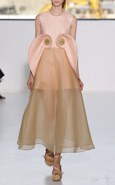 New York Fashion Week, preorder Delpozo Spring 2015 Runway Trunkshow Look 32- Pale Pink Silk Twill Tea Length Dress