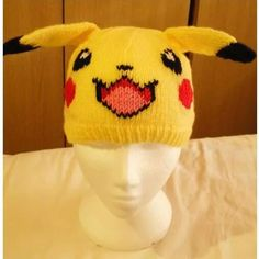 Knitted Pokemon character hat (Pikachu). For cosplay or just for fun!