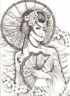 T T Geisha with fan