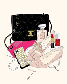 Inside her Chanel Fashion Bags, Fashion Models, Mode Glamour, Types Of Handbags, What In My Bag, Beauty Illustration, Cute Images, Fashion Sketches, Fashion Illustrations