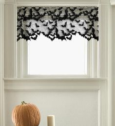 Halloween Lace Valance. Let this flock of bats flutter around your windows.