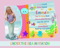 Girl Under the Sea Birthday Invitation DIY by printablecandee
