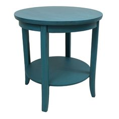 International Caravan Ashbury Round Two Tier End Table in Antique Teal - WS-3606-TL