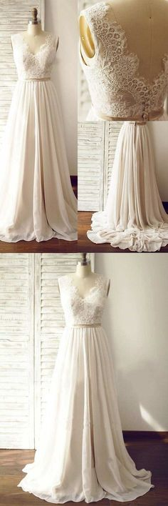 simple wedding dresses, chic chiffon wedding dresses with appliques, cheap wedding dresses