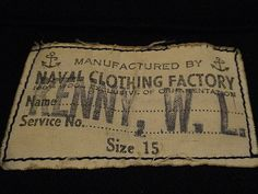 Naval Clothing Factory Label