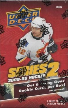 2008/09 Upper Deck Series 2 Hockey Hobby Box by Upper Deck. $39.95. Each box contains (2) Game-Used Memorabilia Cards and (6) Young Guns Rookie Cards!! Look for UD Game Patch and Rookie Materials Patch Cards #'d to 15 or less!! 24 packs per box, 8 cards per pack Try for Stamkos jersey, Patch, and elusive Victory rookie cards! Look for key rookies including Chris Stewart, Semyon Varlamov, Nathan Gerbe, Zach Boychuk, Nikita Filatov, Fabian Brunnstrom, Justin Pogge, Nikolau Kulemi...