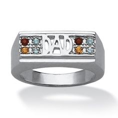 """Platinum-Plated Men's Birthstone """"Dad"""" Family Ring on PalmBeach Jewelry~~DAD's BIRTHSTONE RING!!~~$59.99"""