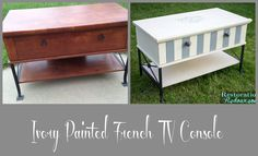 Ivory French TV Console Makeover