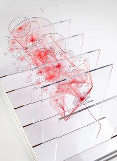 Knots by Artist June Kim / Red Thread Sculpture / Contemporary Fiber Art Pseudo Science, Thread Art, Data Visualization, String Art, Installation Art, Textile Art, Fiber Art, Geometry, Contemporary Art
