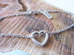 Heart Love Charm Silver Chain Bracelet by SwanMaidenJewels Love Charms, Christmas Jewelry, Friendship Bracelets, Charmed, Chain, Heart, Unique Jewelry, Handmade Gifts, Earrings