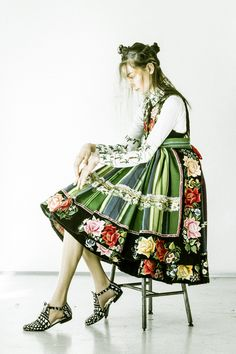 "lamus-dworski: "" Model wearing a traditional folk dress from the region of Łowicz, central Poland. Fot. © Andreas Waldschuetz. """