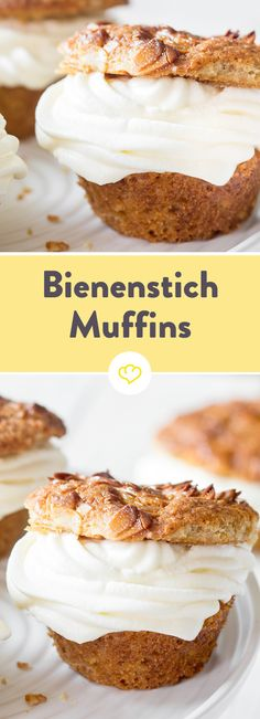 Klassiker neu aufgelegt: Bienenstich-Muffins Because of snotty cake - delicious cream cheese cream between fluffy almond dough: The traditional cake times very cheeky in miniature. Nutella Recipes, Donut Recipes, Cake Recipes, Dessert Recipes, Kinds Of Desserts, Traditional Cakes, Yummy Cupcakes, Let Them Eat Cake, Cake Cookies