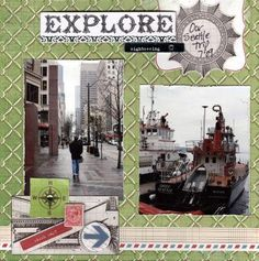 Travel scrapbook page layout