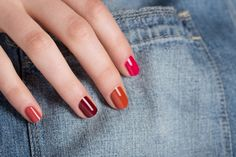 Red-Nails-with-Denim-1 Four red-based shades we can't get enough of (from left): Nan, Anisa, Brielle, Eva
