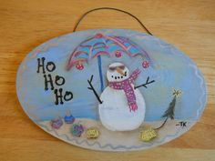 Hand Painted Christmas  Nautical Snowman