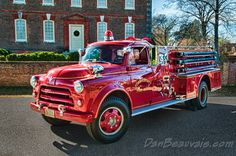 A classic 1955 Dodge, with a Howe fire truck body, on display in historic… Fire Dept, Fire Department, Old Dodge Trucks, Dodge Cummins, Rescue Vehicles, Fire Equipment, Fire Apparatus, Emergency Vehicles, Fire Engine