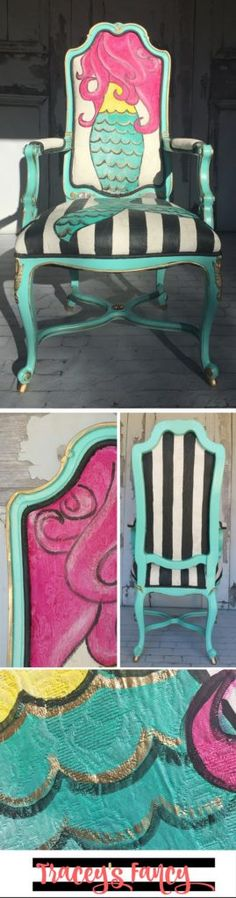 Gorgeous French provincial chair Makeover into a girl's Mermaid Chair -- Let's be Mermaids | Tracey's Fancy