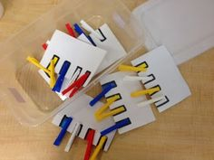 I feel like this task is a common one, and it's a great one! I drew rectangles around the clothespins on the index cards and then colored them in so students can match the color to the clothespin.