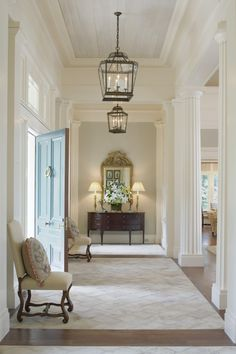 The use of a light and subtle palette allows the architectural elements to shine and the space to remain an integral whole in this classic Greek Revival interior. - perpetual eye