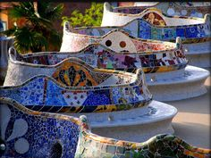 Beautiful mosaic benches in Park Güell, Barcelona! Designed by Antoni Gaudi -- my next trip is going to be Barcelona! Costa Brava Hotel, Begur Costa Brava, Art Nouveau, Hotel W, Antonio Gaudi, Parc Guell, Beau Site, Spain And Portugal, Spain Travel