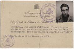Robert Capa press pass 1939