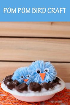 Pom pom bird craft. Easy paper bowl, cotton ball and pom pom spring craft for preschoolers, kindergartners and older kids. Bird with nest. #birdcraft #birdcraftskids #birdcraftpreschool #pompombirdcraft #birdandnest #pompomcraftkids #pompomcraft