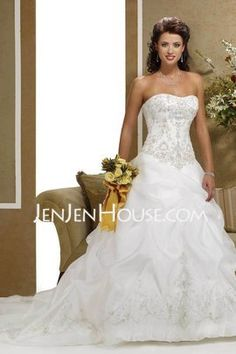 A-Line/Princess Sweetheart Chapel Train Organza  Satin Wedding Dresses With Embroidery  Beadwork (002004178)