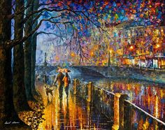 Alley By The River - Palette Knife Modern Landscape Oil Painting On Canvas By Leonid Afremov Print By Leonid Afremov