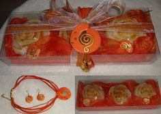Sofisticati Set regalo arancione dorato per di JoannasScentedSoaps